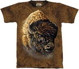 This t-shirt has the head of a very large Buffalo on it.